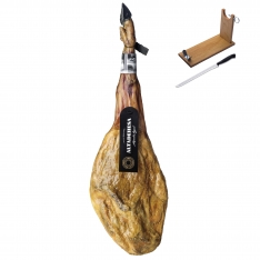 Jamón 100% Ibérico puro de bellota Altadehesa + jamonero + cuchillo